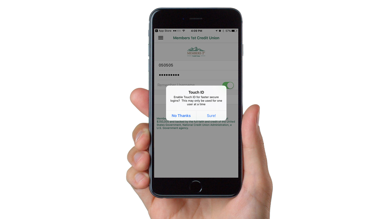 Touch ID Available in Members 1st Mobile App