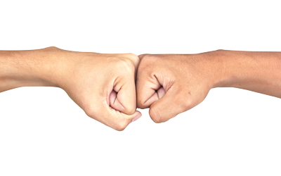 two fists hitting knuckle to knuckle